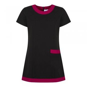 Dream Design Workwear Jenay Pocket Tunic Black Pink Size 8