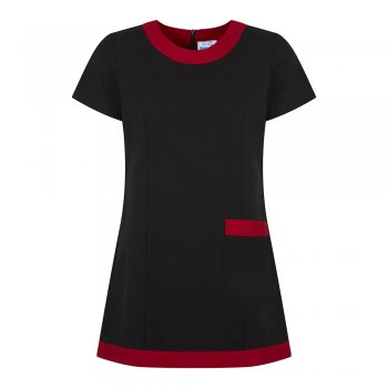 Dream Design Workwear Jenay Pocket Tunic Black Red Size 8
