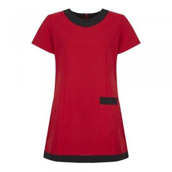Dream Design Workwear Jenay Pocket Tunic Red Black Size 10
