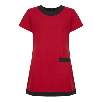 Dream Design Workwear Jenay Pocket Tunic Red Black Size 8