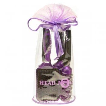 Head Jog Oval Purple Hair Brush Set