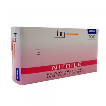 Headgear Pink Nitrile Disposable Gloves Medium x 100