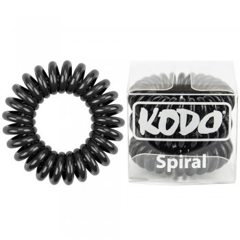 Kodo Spiral Pain-Free Hair Band Black x 3