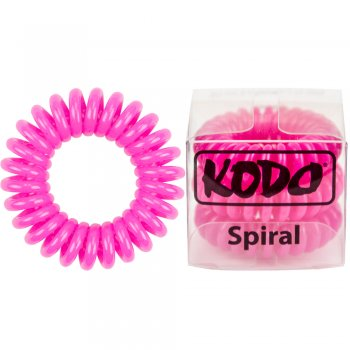 Kodo Spiral Pain-Free Hair Band Hot Pink x 3