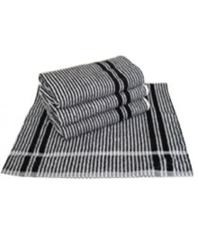 Dozen Black & White Striped Towel 45cm x 90cm