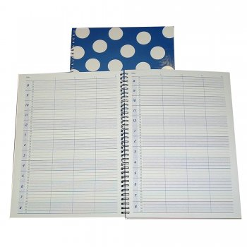 Misc Polka Appointment Book Blue 4 Columns