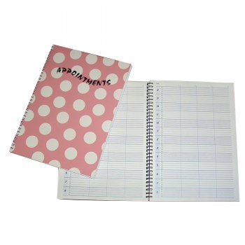 Misc Polka Appointment Book Pink 4 Columns