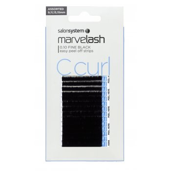 Salon System Marvelash Lash Extensions C Curl 0.10 Assorted Fine Black