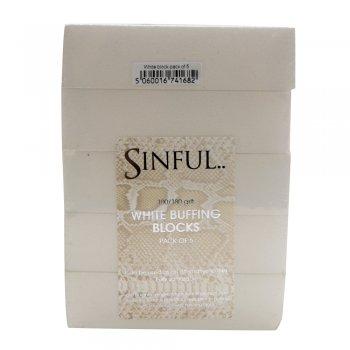 Sinful Nails White Nail Buffing Blocks x 5